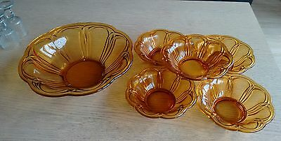 vintage amber glass large bowle and five dishes
