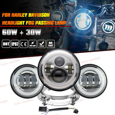 "7"" Projector Daymaker LED Headlight Passing Lights For Harley Touring Road King"
