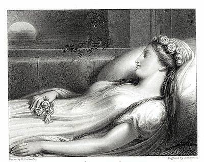 """""""Medora"""" - Heroine of Lord Byron's """"Corsair"""" - After Henry Corbould - c1833"""