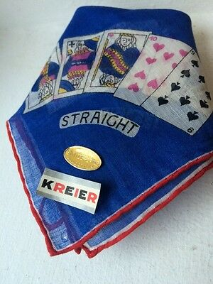 Vintage 1990s Mens Pocket Handkerchief KREIER SWISS Cotton Card Print Retro