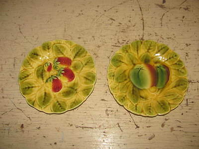 2 ANTIQUE / VINTAGE FRANCE Sarreguemines MAJOLICA PLATES STRAWBERRY & APPLE