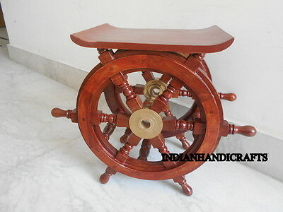 Vintage Wood Ships Wheel Nautical Table Brass Ring Boat Steering Collectible