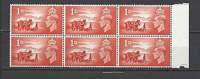 British stamps Kings of old George VIth Channel Island mint block of 6 SGC1 GB
