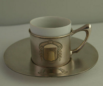 Elegant Solid Silver Coffee Can / Esspresso Cup With Saucer