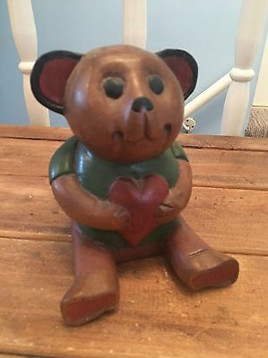 Wooden Vintage Style Bear Holding A Heart Freestanding Display Ornamental
