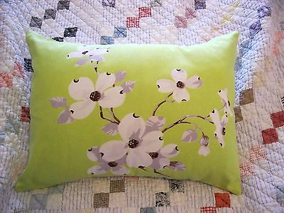 Vintage Wilendur Lime Green Dogwood Tablecloth 12 by 16 Throw Pillow with Insert