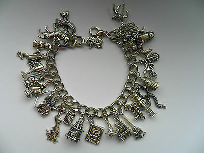 Stunning Handmade Silver Harry Potter  Chain Bracelet with 27 Different Charms