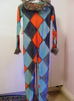 Vintage theatrical harlequin costume all in one trouser suit green red grey S