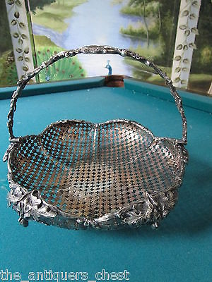 Bridal Basket 1920s silverplate, reticulated, grapes and leaves design[*]