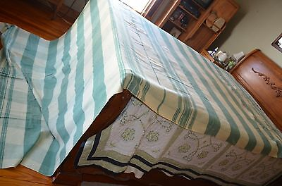 Vintage double long wool blend camp blanket, green shades