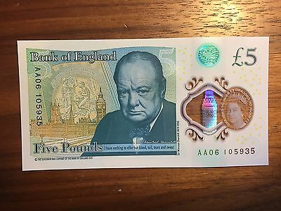 £5 note AA06 Five pounds Sterling low serial number AA06