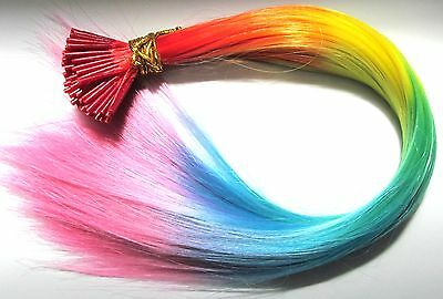 "22"" Rainbow Feather Hair Extensions- Vivid Colour I-Tip Plus FREE Micro Beads"