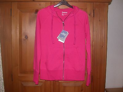 Ladies Reebok EL FT Full Zip Hoodie Candy Pink Size M BNWT.
