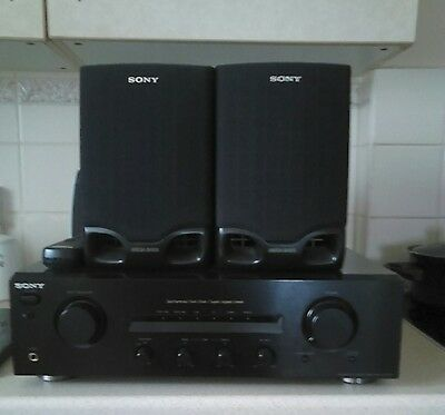 sony stereo amplifier and speakers, ideal for record deck