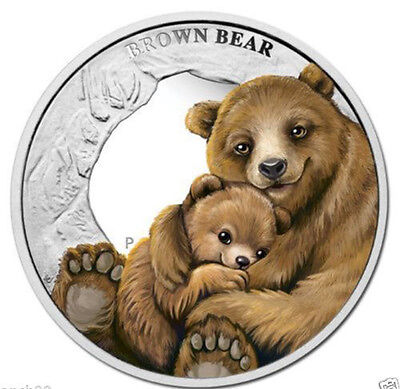 Tuvalu Mother's Love Series 'brown Bear' Silver Plated Color Coin