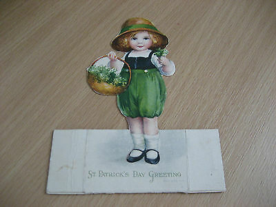 Vintage St Patrick's Day Card - Place Setting Girl With Shamrock