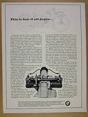 1967 BMW Motorcycles 'This is how it all began' Max Friz story vintage print Ad