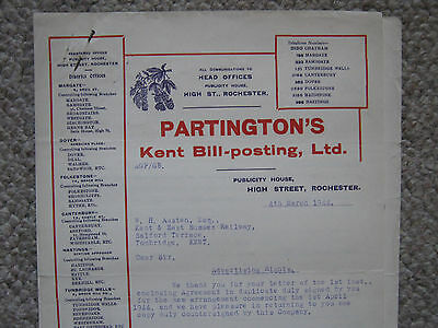 Kent & East Sussex Railway contract with Partington's Bill-posting Ltd. 1944.