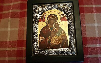 Greek traditional Byzantine icon. Jesus and the virgin mary. 950 silver 24k gold