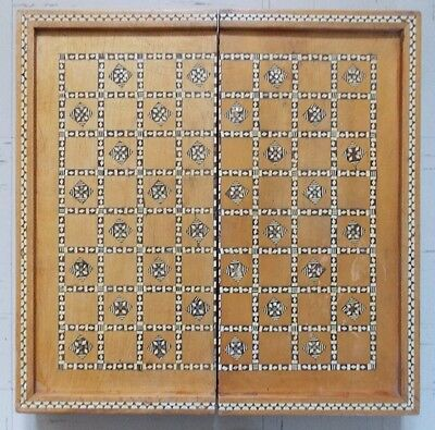 Vintage Egyptian Inlaid Mother Of Pearl Wooden Chess Board/Box/Backgammon