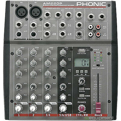 Phonic AM 220 P Mixer Professional with 6 Inputs e Reader File USB - New