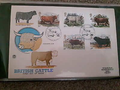 Stamps. first day covers. British cattle. 1984