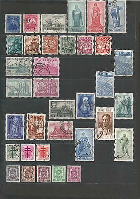 JAN 078 Belgique - Belgie 2 PAGES of USED stamps incl. Tuberculosis TB stamps