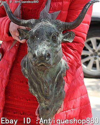 """19"""" Old Chinese Bronze Fengshui Bull Oxen Ox Moo-cow Head Bust Animal Statue"""