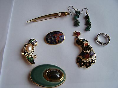 mixed lot jewellery brooches earrings ring