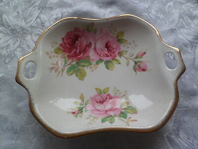 Royal Albert dish with a pink rose pattern