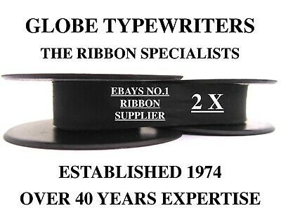 2 x SILVER REED WHS GREY FOX *BLACK* TOP QUALITY *10M TYPEWRITER RIBBONS+EYELETS