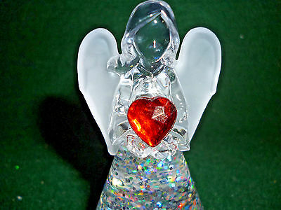 Hallmark Gift Bag Angel with Red Heart Lighted Snow Globe Swirling Glitter NEW