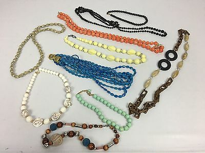 Lot Of 10 Piece Kid Dress-Up Colorful Costume Jewelry Necklaces Varying Lengths