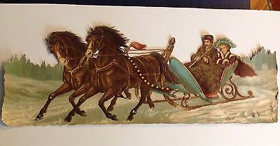 Large Victorian Intricate Die Cut Scrap of Horses And Sleigh With Couple 1880's