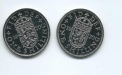 1970 Proof Shillings English plus Scottish versions from a Proof set.