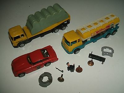 TRIANG MINIC PETROL TANKER, TRUCK WITH LOAD, CAR Incomplete
