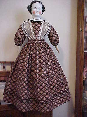 "Antique Repro Dress w/French Net Lace For 26-30"" Greiner, China, Parian, Bisque"