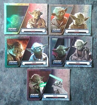 2016 Topps STAR WARS EVOLUTION Trading Cards - YODA (x5) - New and Mint