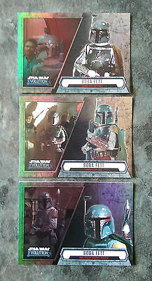 2016 Topps STAR WARS EVOLUTION Trading Cards - BOBA FETT (x3) - New and Mint