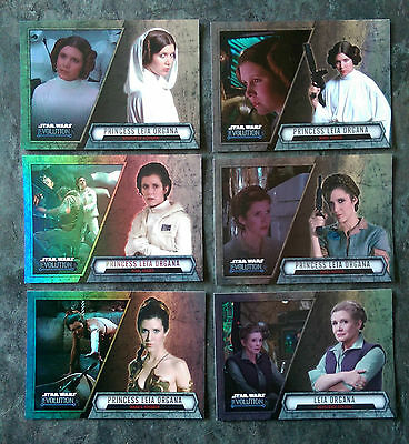 2016 Topps STAR WARS EVOLUTION Trading Cards - PRINCESS LEIA (x6) - New and Mint