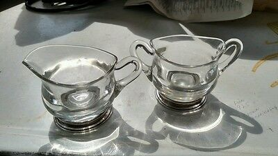 VINTAGE  Crystal and Sterling Silver Sugar and Creamer