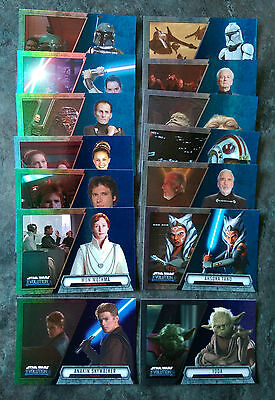 2016 Topps STAR WARS EVOLUTION Trading Cards - Blue & Purple Parallels (x14) New