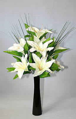 Cream  Lily  Artificial Flower Arrangement Spray In Black Vase- Display.