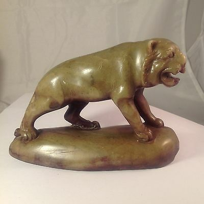 Antique Peoples Republic Of China Hand Carved Old Jade Tiger.