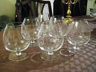 Six -  Footed Brierley Brandy Glasses  Plain No Pattern  - Etched On Foot