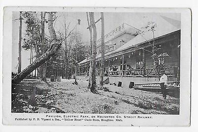 MICH Pavilion Electric Park Houghton County Michigan Vintage Litho Postcard