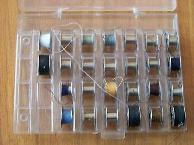Lot of 26 elna SEWING MACHINE BOBBINS -  VINTAGE - Dritz No. 507 Bobbin box