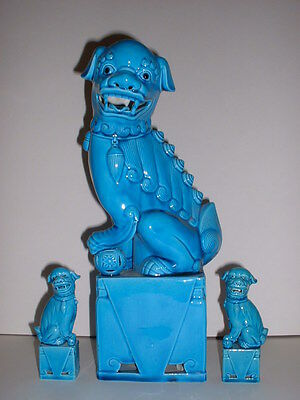 13 1/2' Tall +2 Set of Chinese Turquoise Blue Porcelain Foo Fu Dog Lion Statues