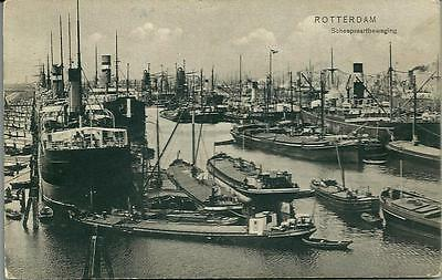 ROTTERDAM, VERY BUSY PORT, Printed postcard. Shipping.