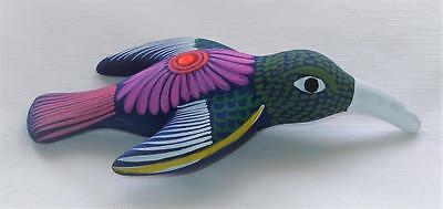 Ceramic Clay Hand-painted Hummingbird Figurine Colorful Mexican Folk Art H12